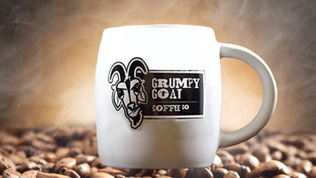 Grumpy Goat Coffee white mug