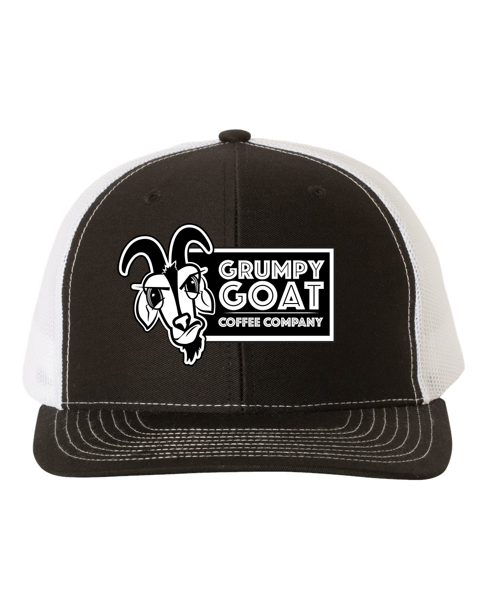 Grumpy Goat Black Trucker Hat with White Mesh \u2013 Coffee