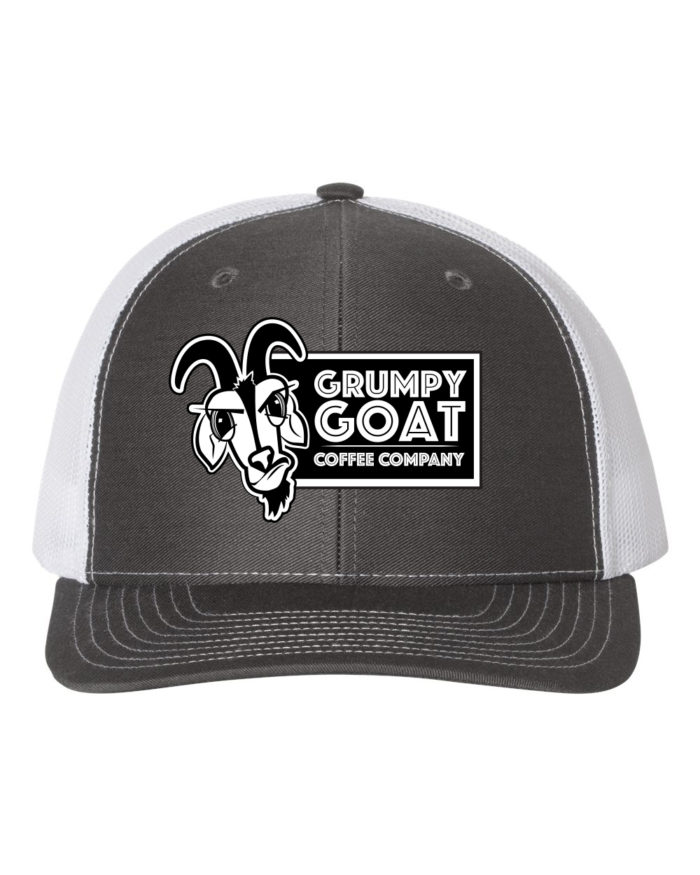 Grumpy Goat Charcoal Trucker Hat with White Mesh