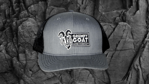 Grumpy Goat Coffee Gray Trucker Hat with Black Mesh