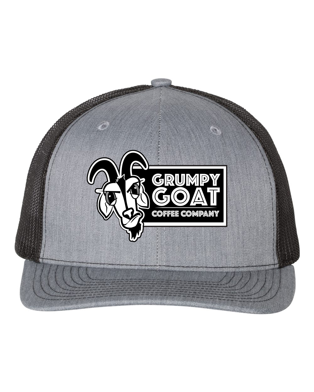 Grumpy Goat Gray Trucker Hat with Black Mesh