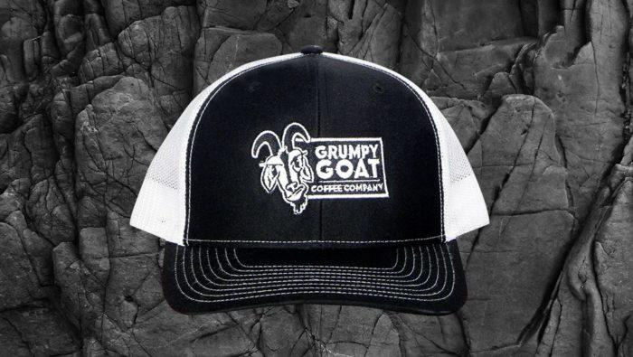 Grumpy Goat Coffee Black Trucker Hat With White Mesh