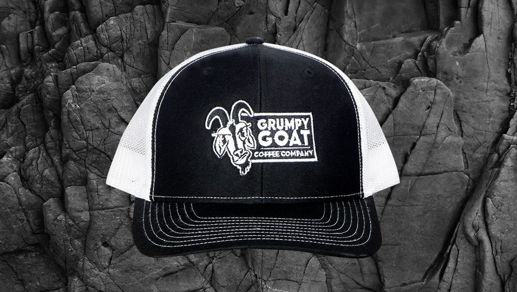 Grumpy Goat Coffee Black Trucker Hat with White Mesh