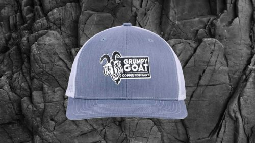 Grumpy Goat Coffee Charcoal Trucker Hat with White Mesh