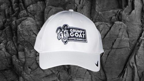 Grumpy Goat Coffee White Nike Golf Swoosh Legacy 91 Cap