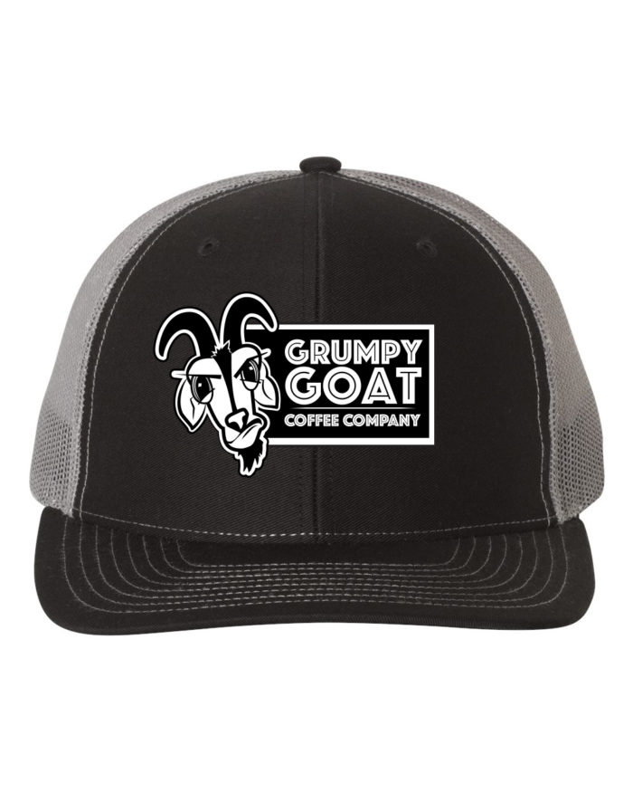 Grumpy Goat Hat with White Logo, Black Front and Gray Mesh