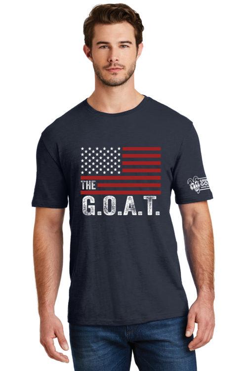 The GOAT American Flag T-Shirt Navy Blue