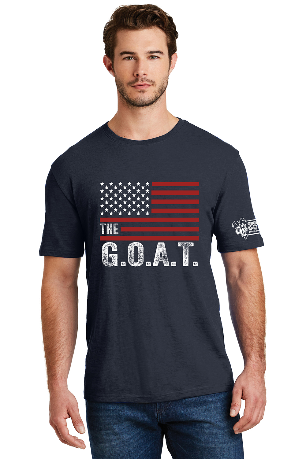 The GOAT American Flag T-Shirt Navy Blue