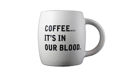 "Matte White Coffee Mug ""Coffee.. It's In Our Blood"""